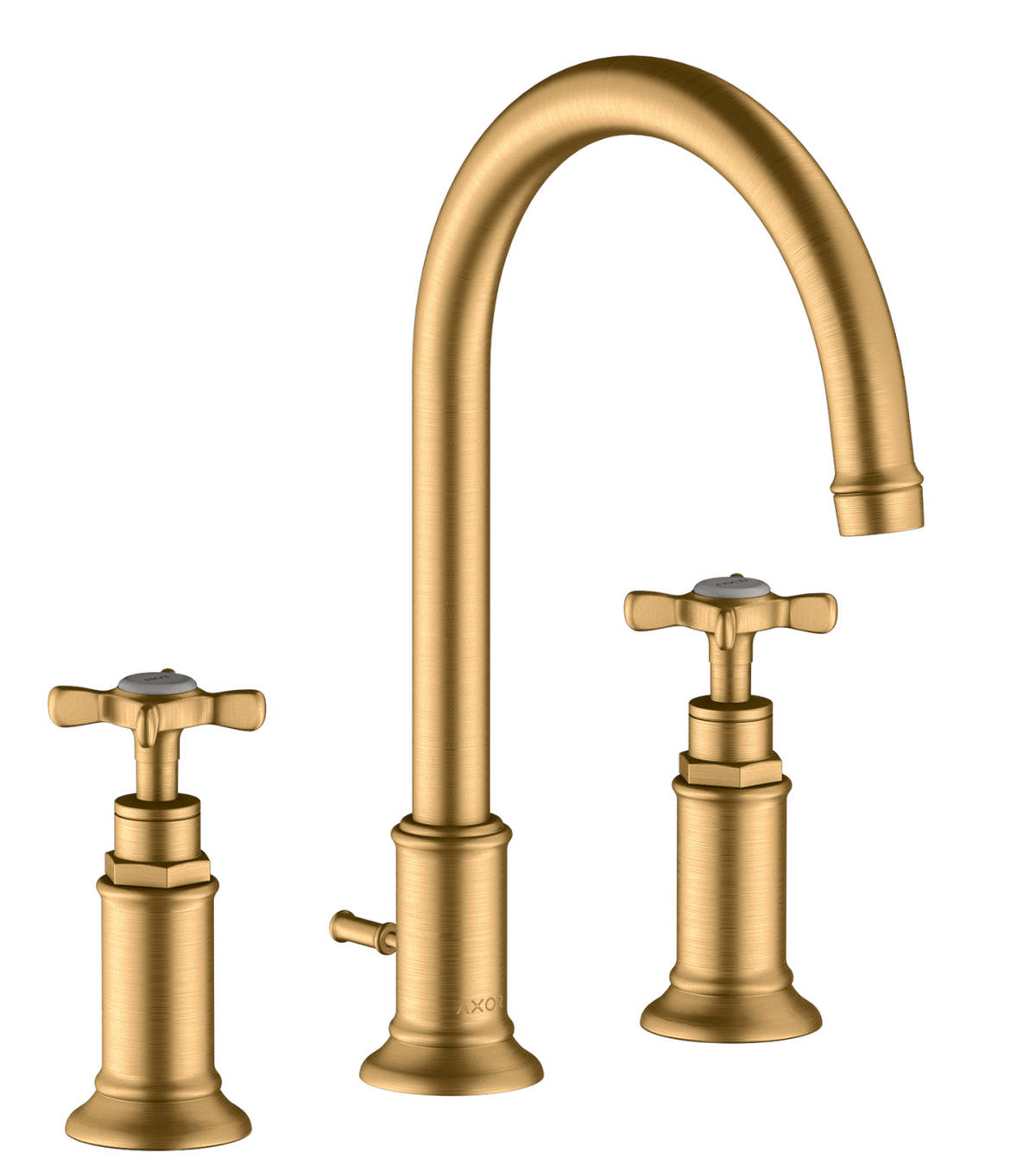 3-hole basin mixer 180 with cross handles and pop-up waste set, Brushed Brass, 16513950