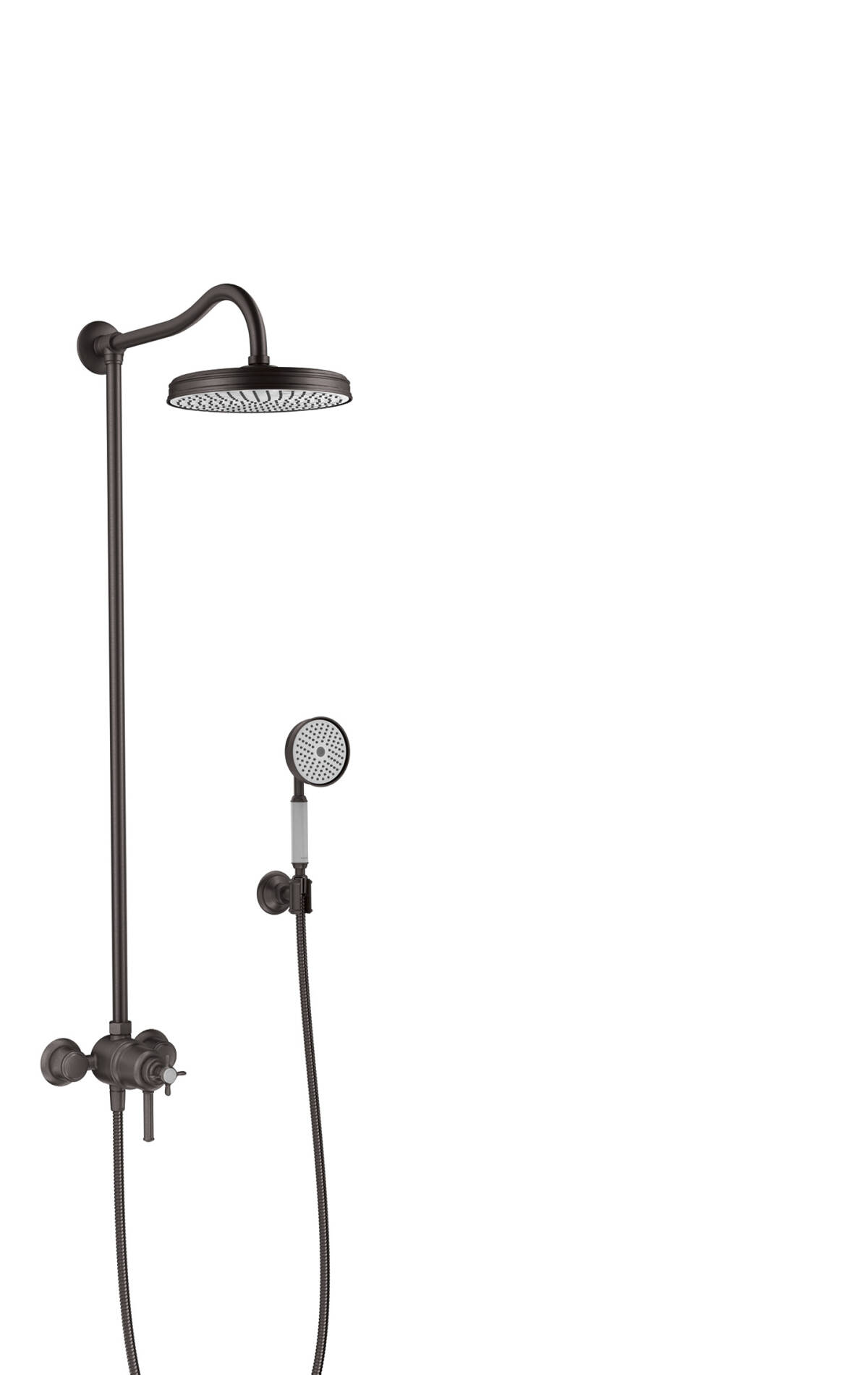 Showerpipe with thermostatic mixer and 1jet overhead shower, Brushed Black Chrome, 16570340