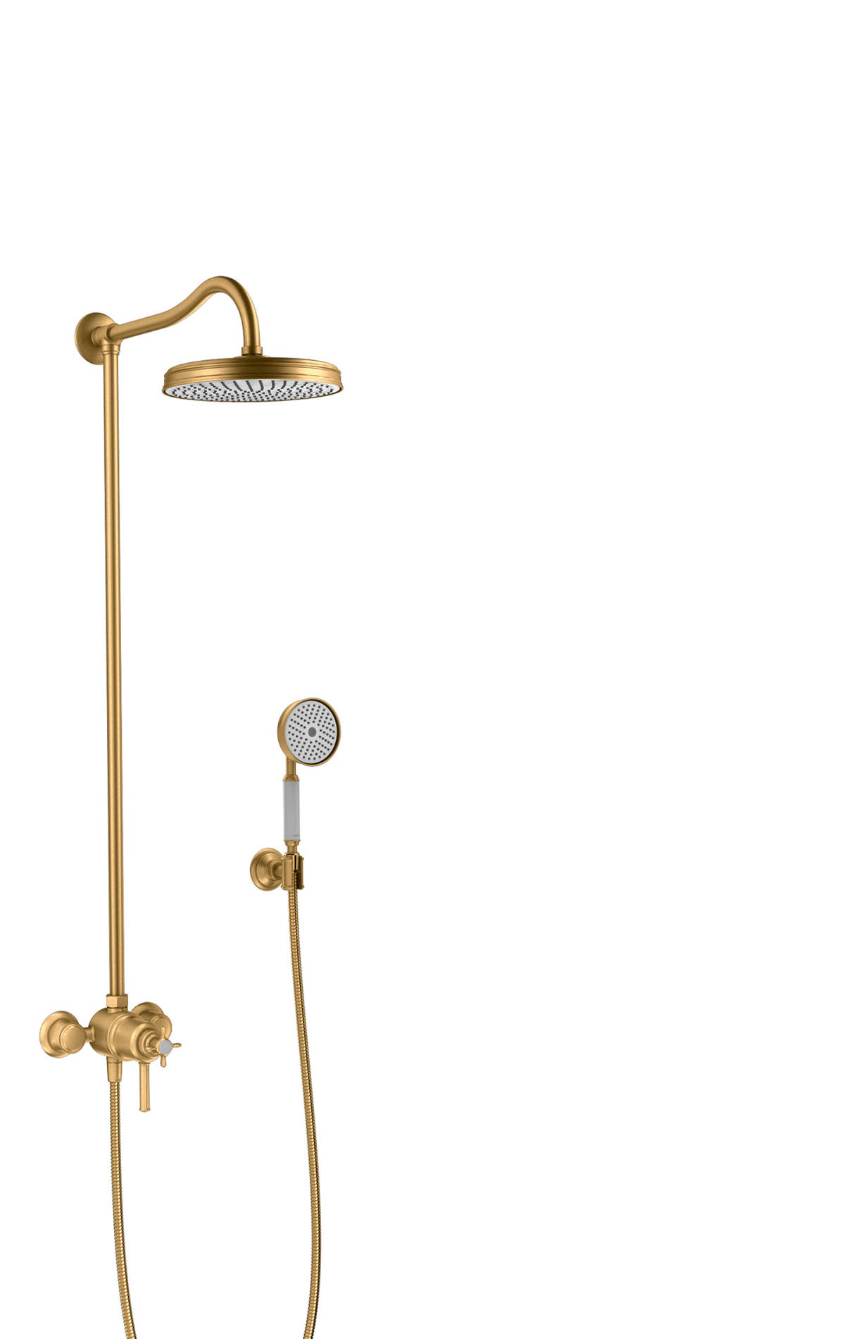 Showerpipe with thermostat and overhead shower 1jet, Brushed Brass, 16570950