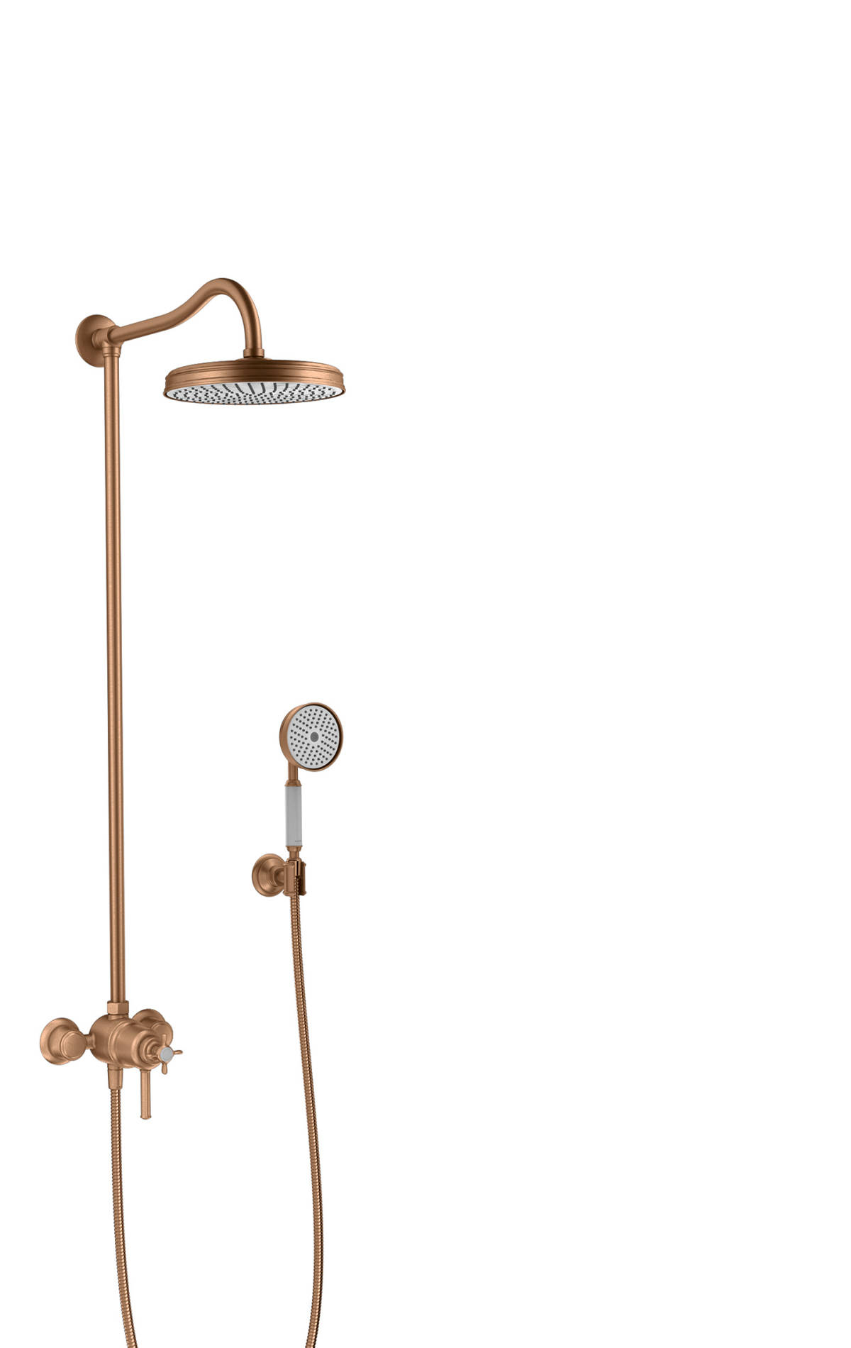 Showerpipe with thermostat and overhead shower 1jet, Brushed Bronze, 16570140