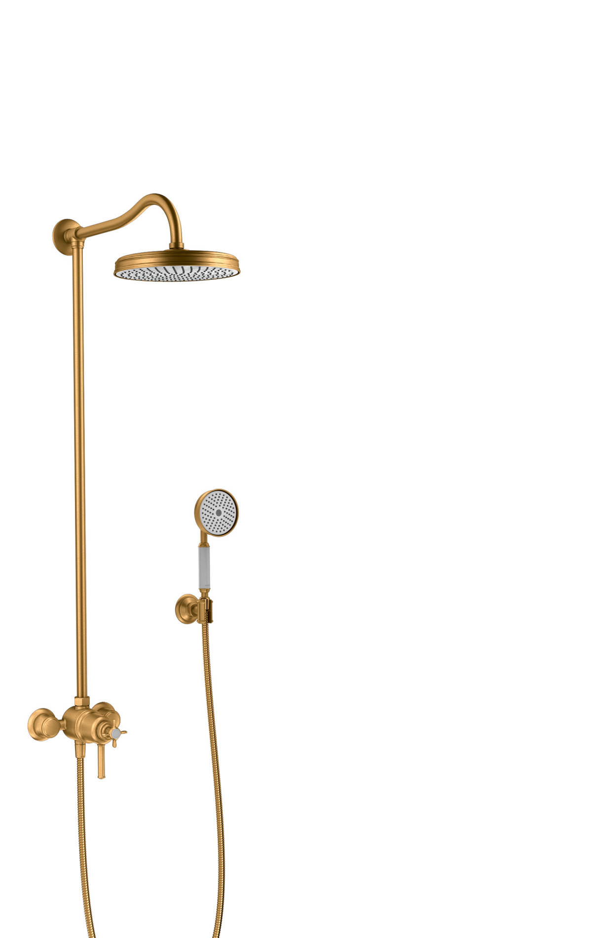 Showerpipe with thermostatic mixer and 1jet overhead shower, Brushed Gold Optic, 16570250