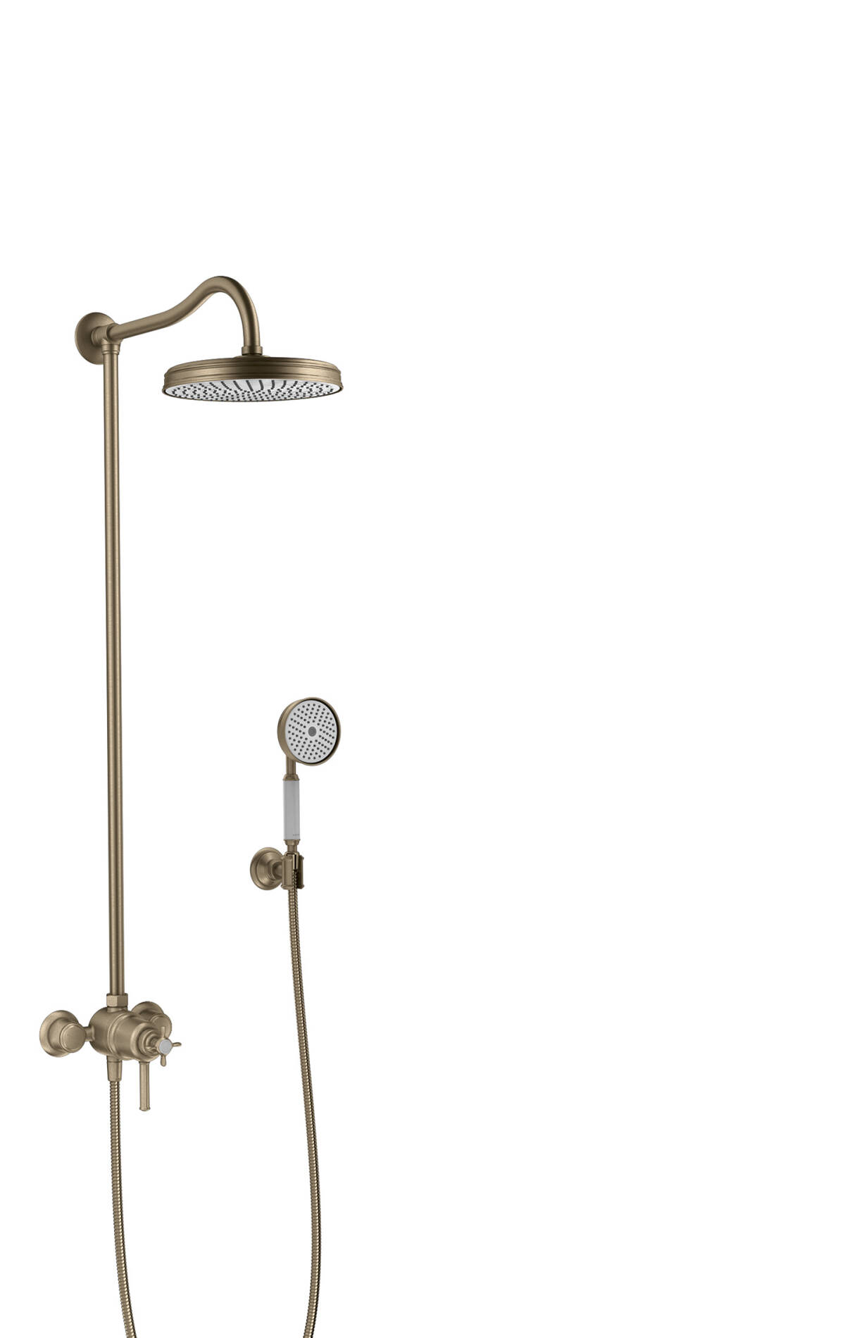 Showerpipe with thermostatic mixer and 1jet overhead shower, Brushed Nickel, 16570820