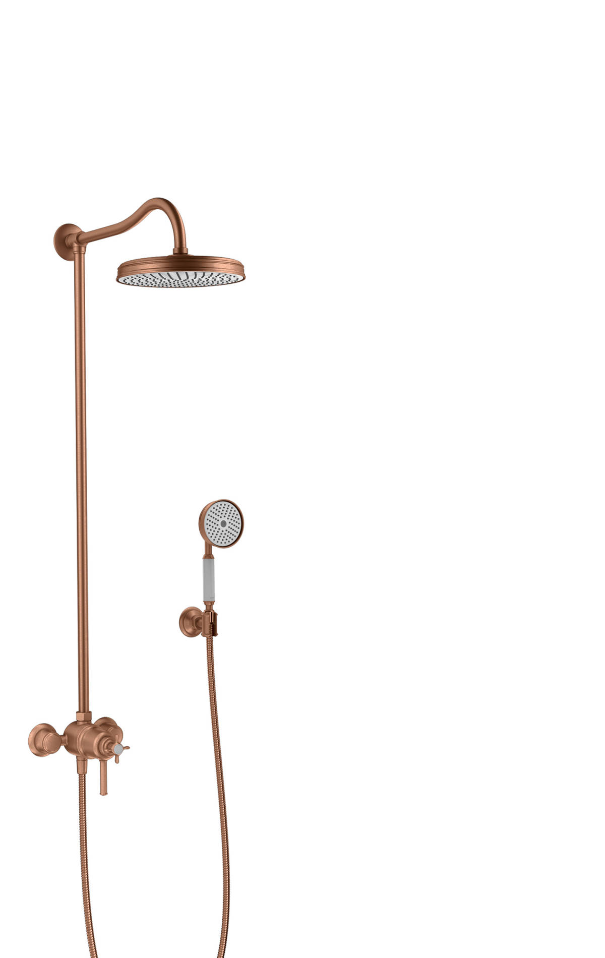 Showerpipe with thermostat and overhead shower 1jet, Brushed Red Gold, 16570310