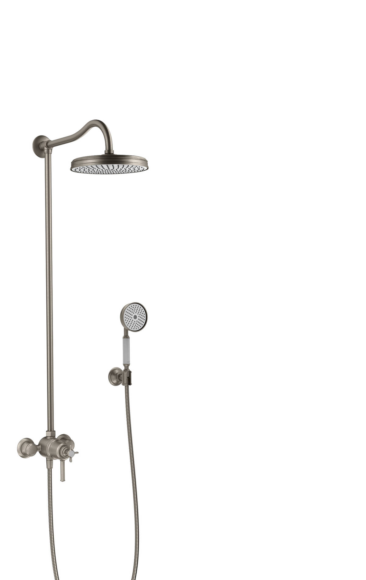 Showerpipe with thermostatic mixer and 1jet overhead shower, Stainless Steel Optic, 16570800