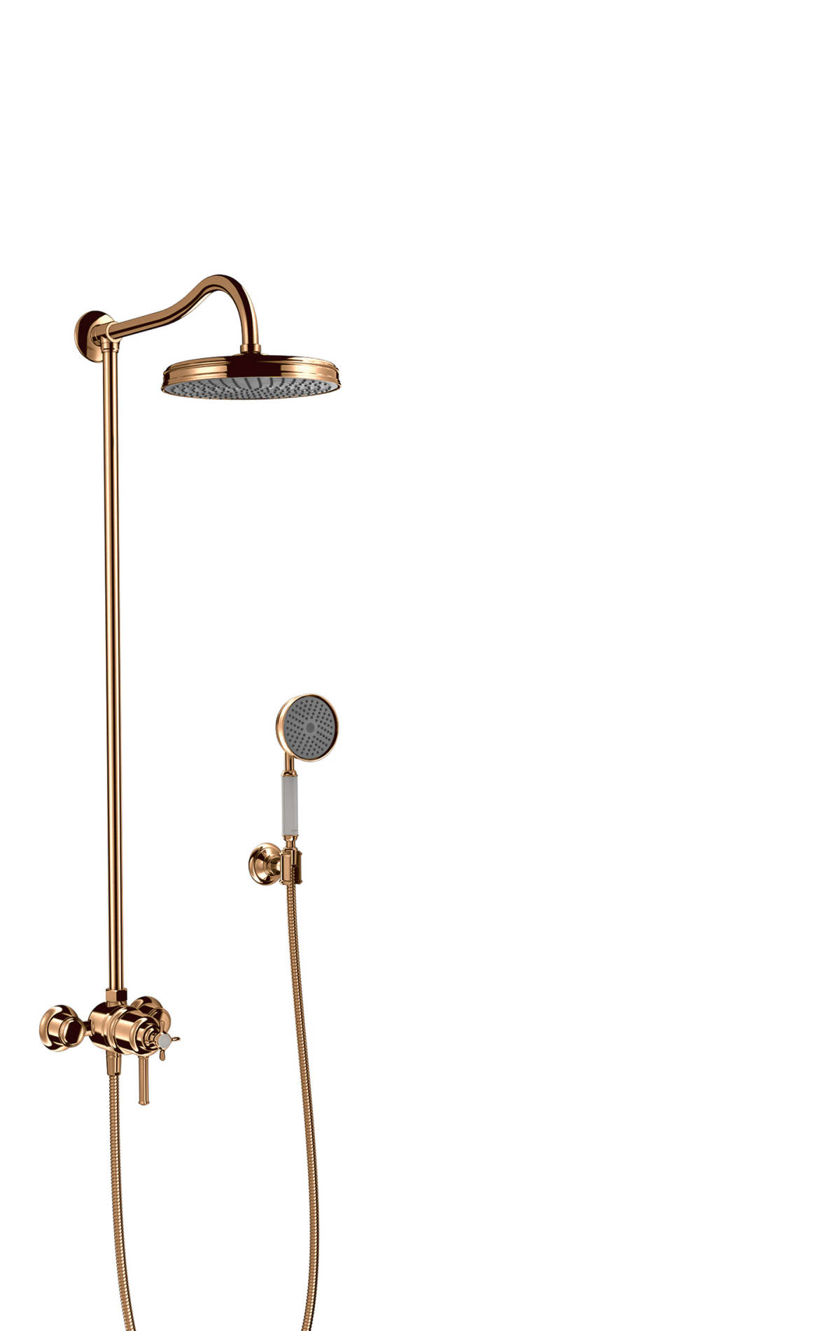 Showerpipe with thermostatic mixer and 1jet overhead shower, Polished Bronze, 16570130