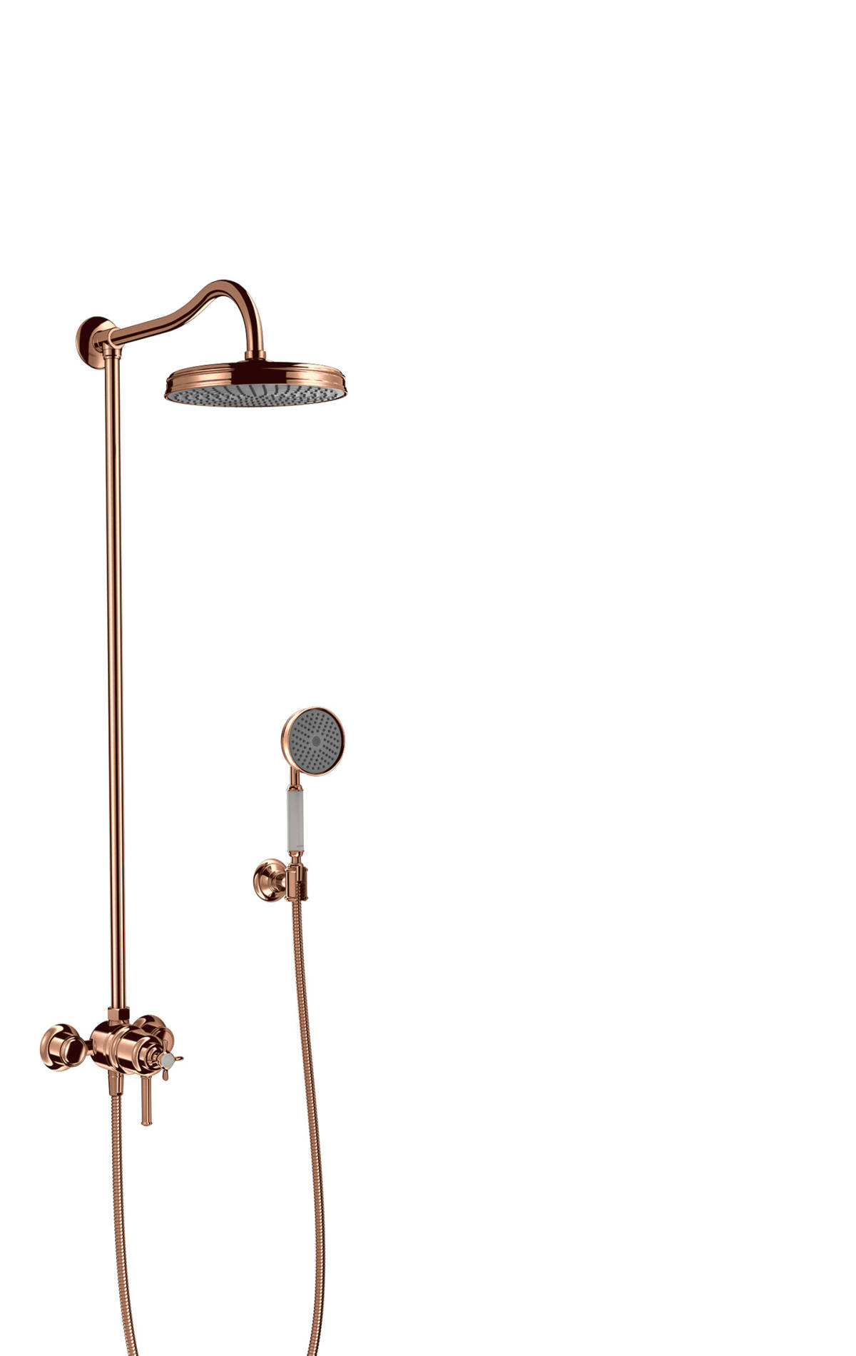 Showerpipe with thermostat and overhead shower 1jet, Polished Red Gold, 16570300