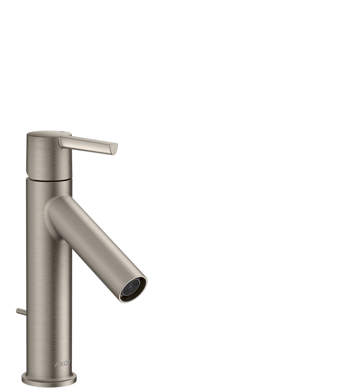 Single lever basin mixer 100 with lever handle and pop-up waste set, Stainless Steel Optic, 10001800