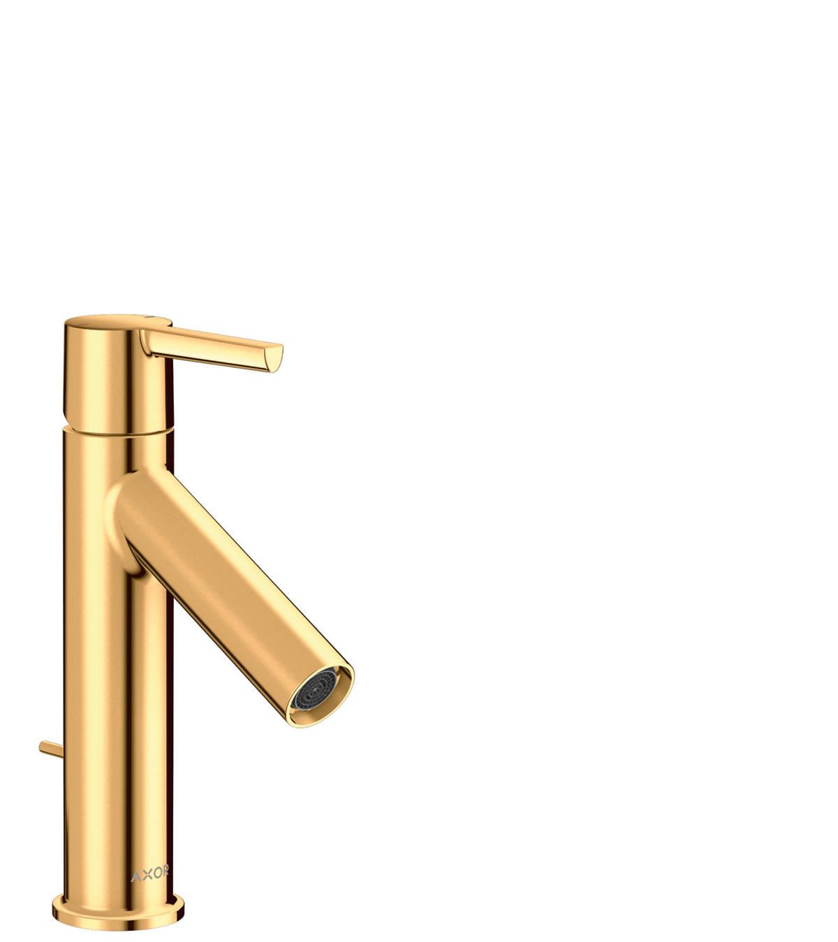 Mezclador monomando de lavabo 100 con manecilla y vaciador automático, color oro pulido, 10001990