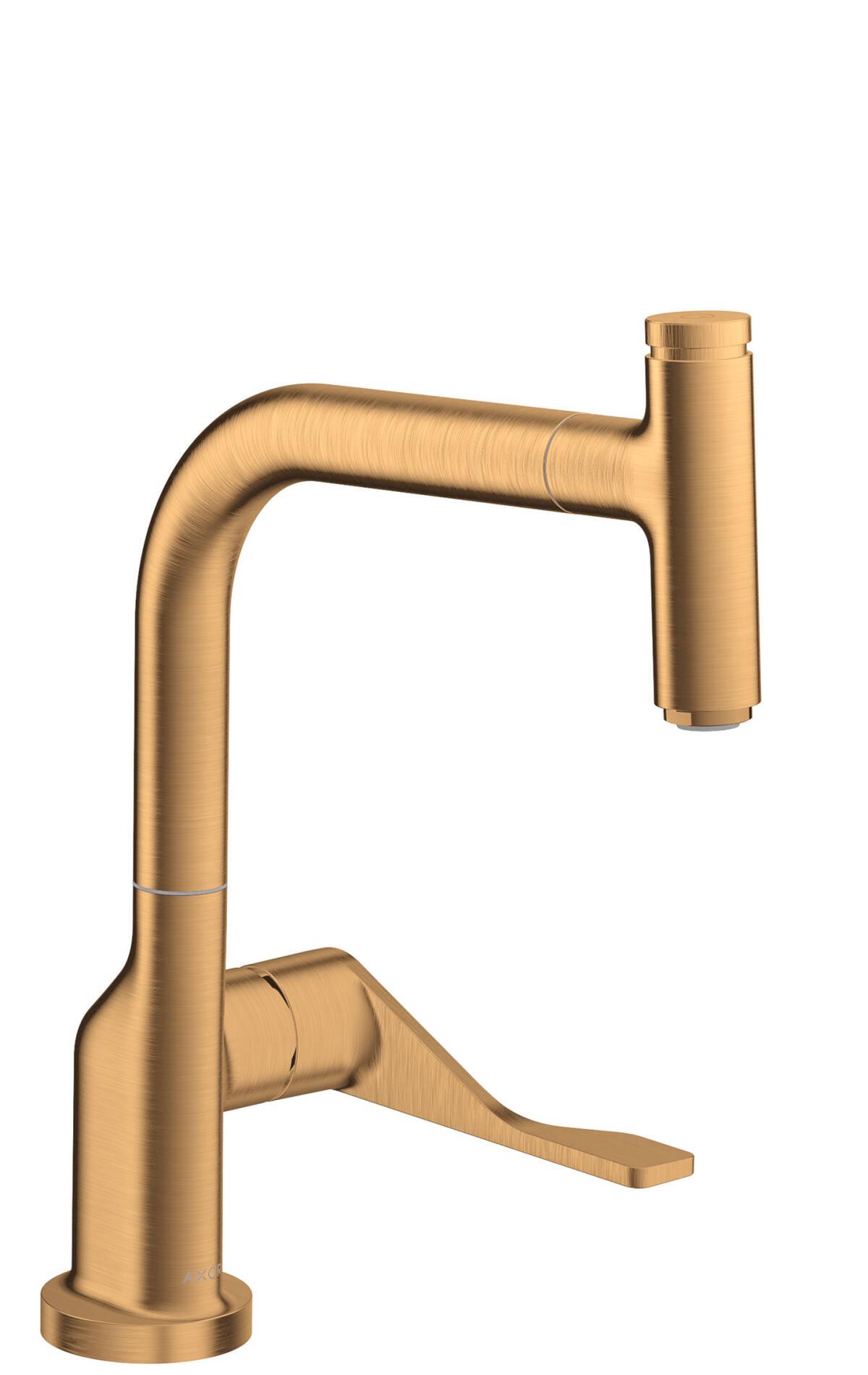 Mezclador monomando de cocina Select 230 con caño extraíble, color oro cepillado, 39861250