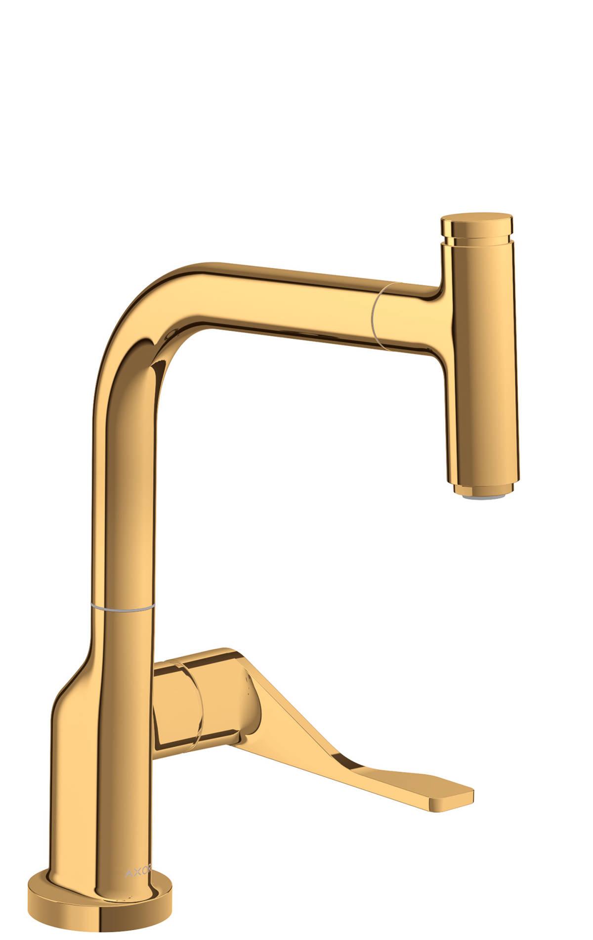 Mezclador monomando de cocina Select 230 con caño extraíble, color oro pulido, 39861990