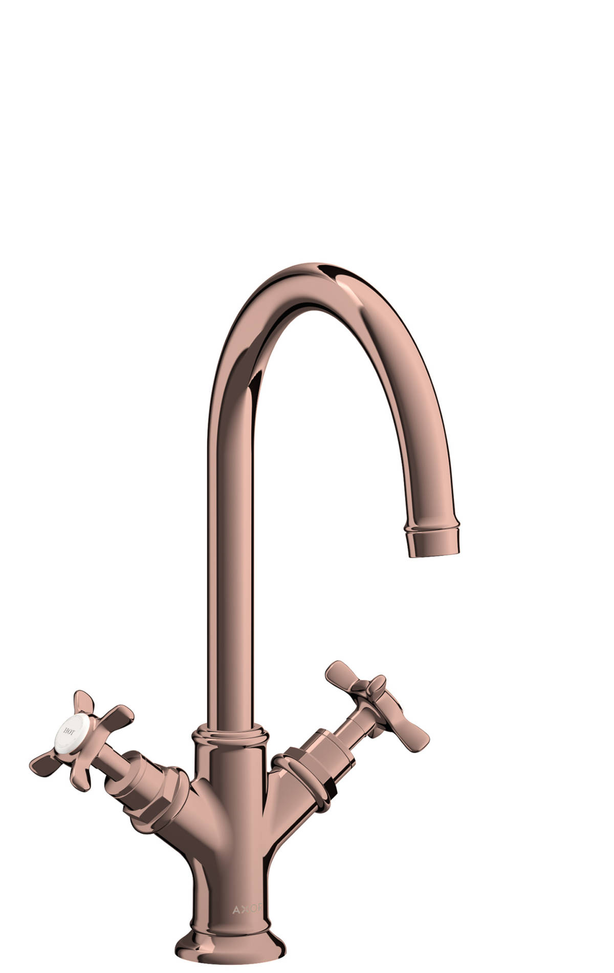 2-handle basin mixer 210 with cross handles and pop-up waste set, Polished Red Gold, 16502300
