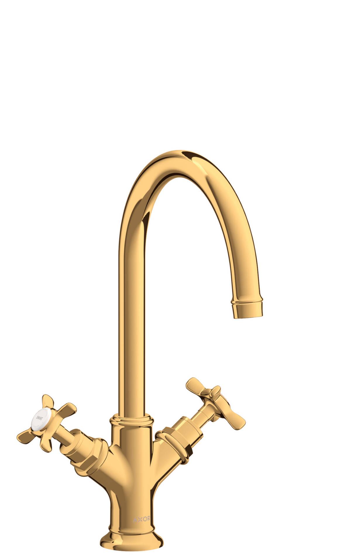 Mezclador bimando de lavabo 210 con manecilla de cruceta y vaciador automático, color oro pulido, 16502990