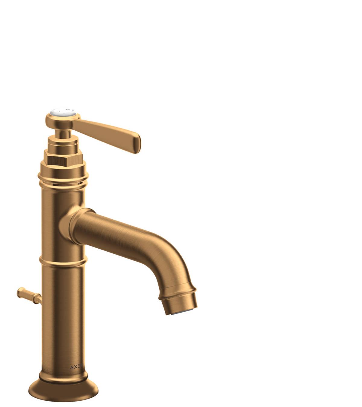 Single lever basin mixer 100 with pop-up waste set, Brushed Gold Optic, 16515250