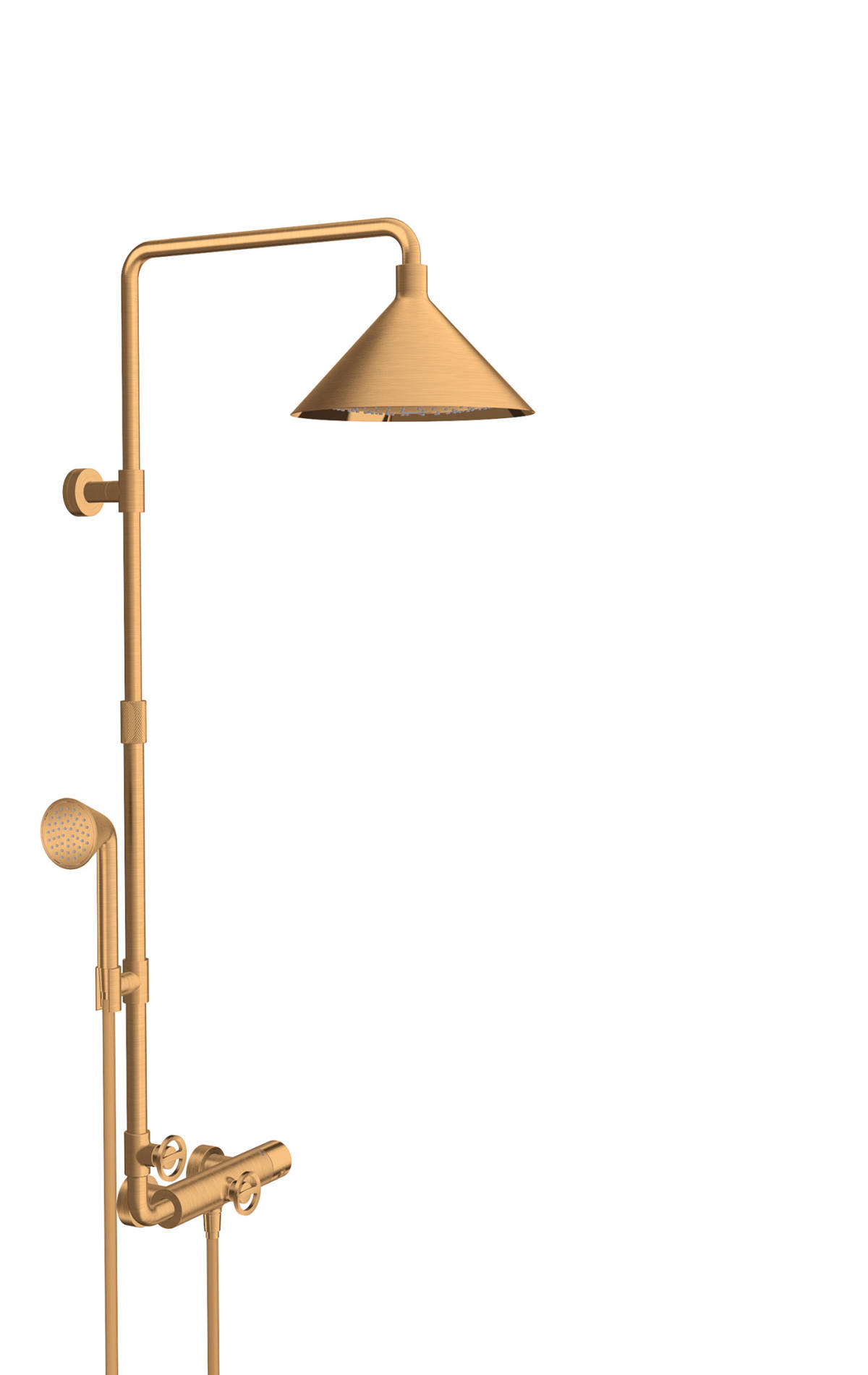 Showerpipe with thermostat and overhead shower 240 2jet, Brushed Gold Optic, 26020250