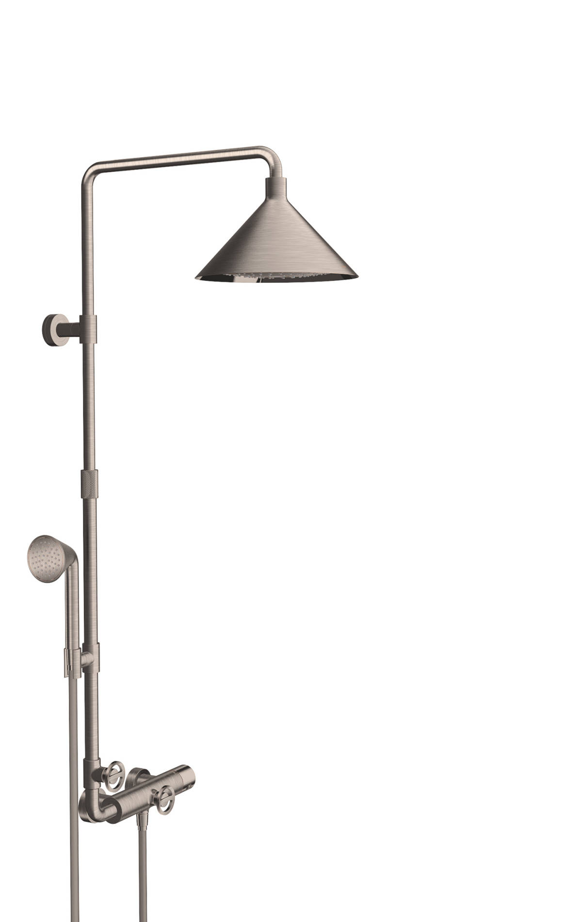 Showerpipe with thermostat and overhead shower 240 2jet, Stainless Steel Optic, 26020800