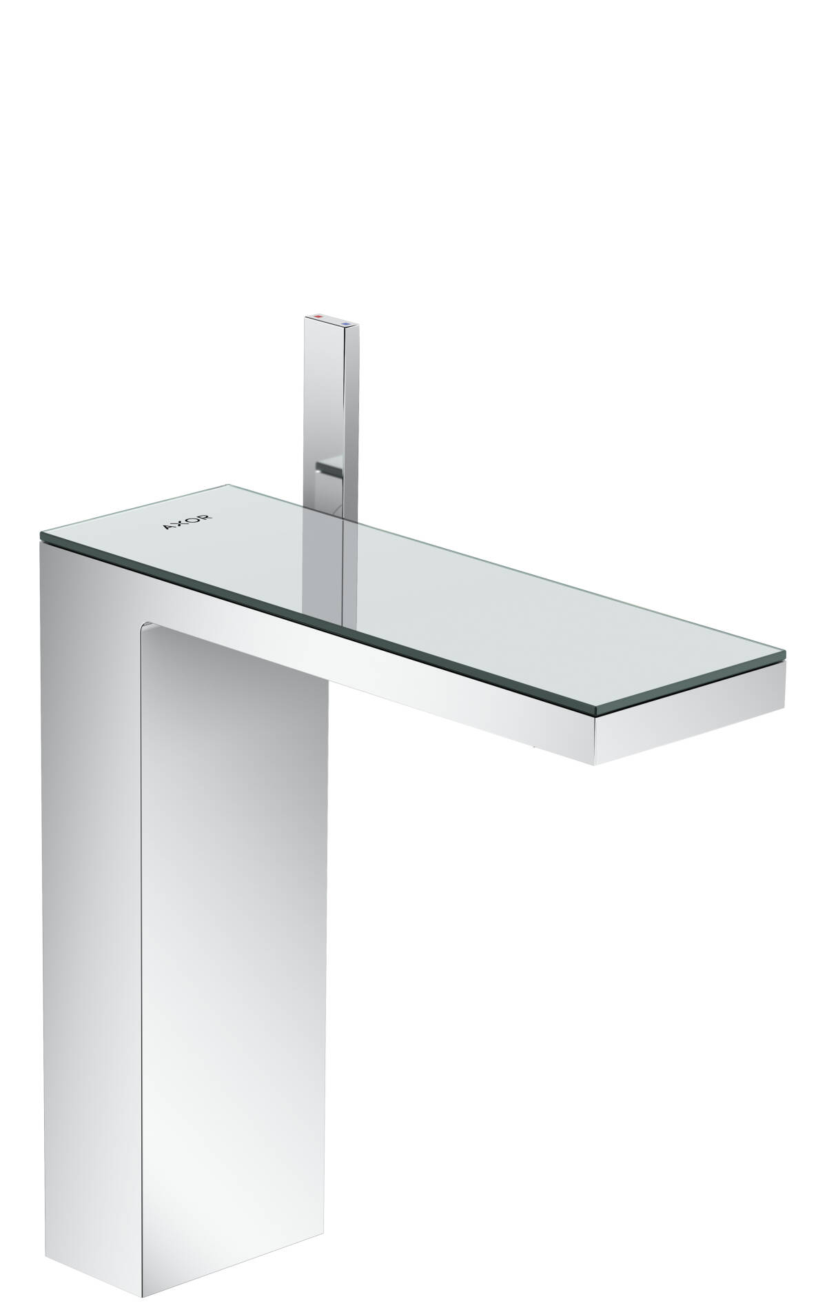 Single lever basin mixer 230 with push-open waste set, Chrome/Mirror Glass, 47020000
