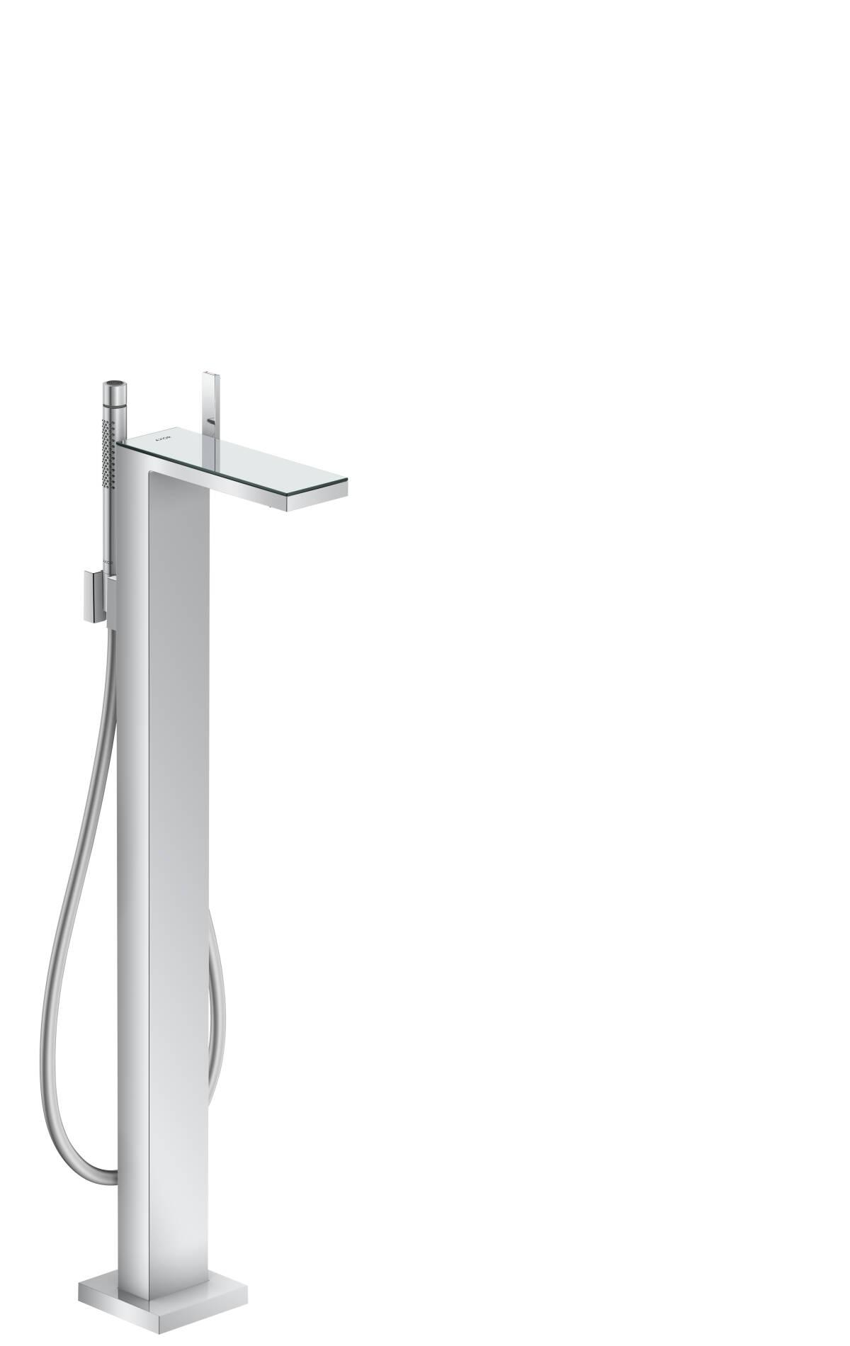 Single lever bath mixer floor-standing, Chrome/Mirror Glass, 47440000