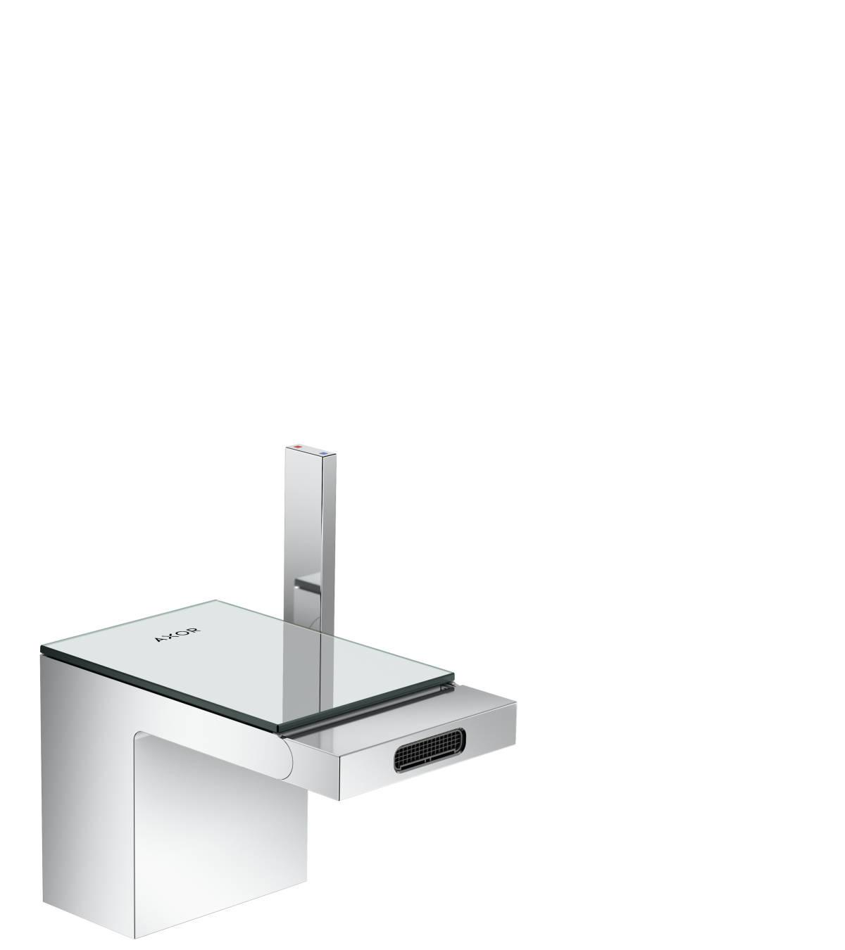 Einhebel-Bidetmischer mit Push-Open Ablaufgarnitur, Chrom/Spiegelglas, 47210000