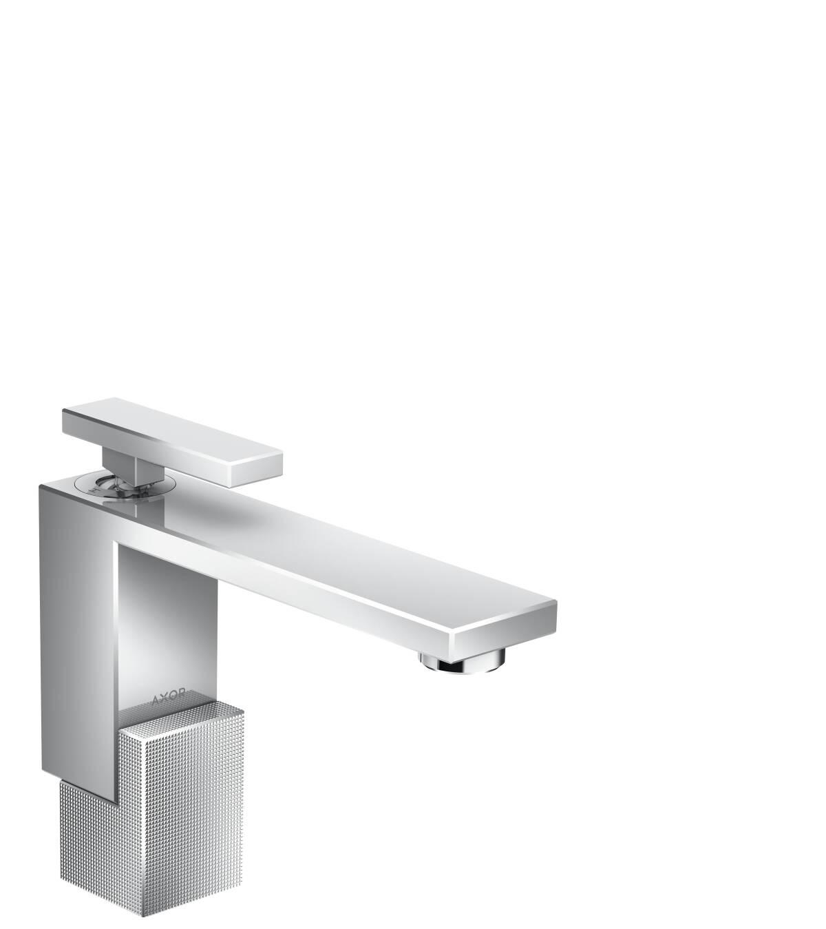 Einhebel-Waschtischmischer 130 mit Push-Open Ablaufgarnitur - Diamantschliff, Chrom, 46011000