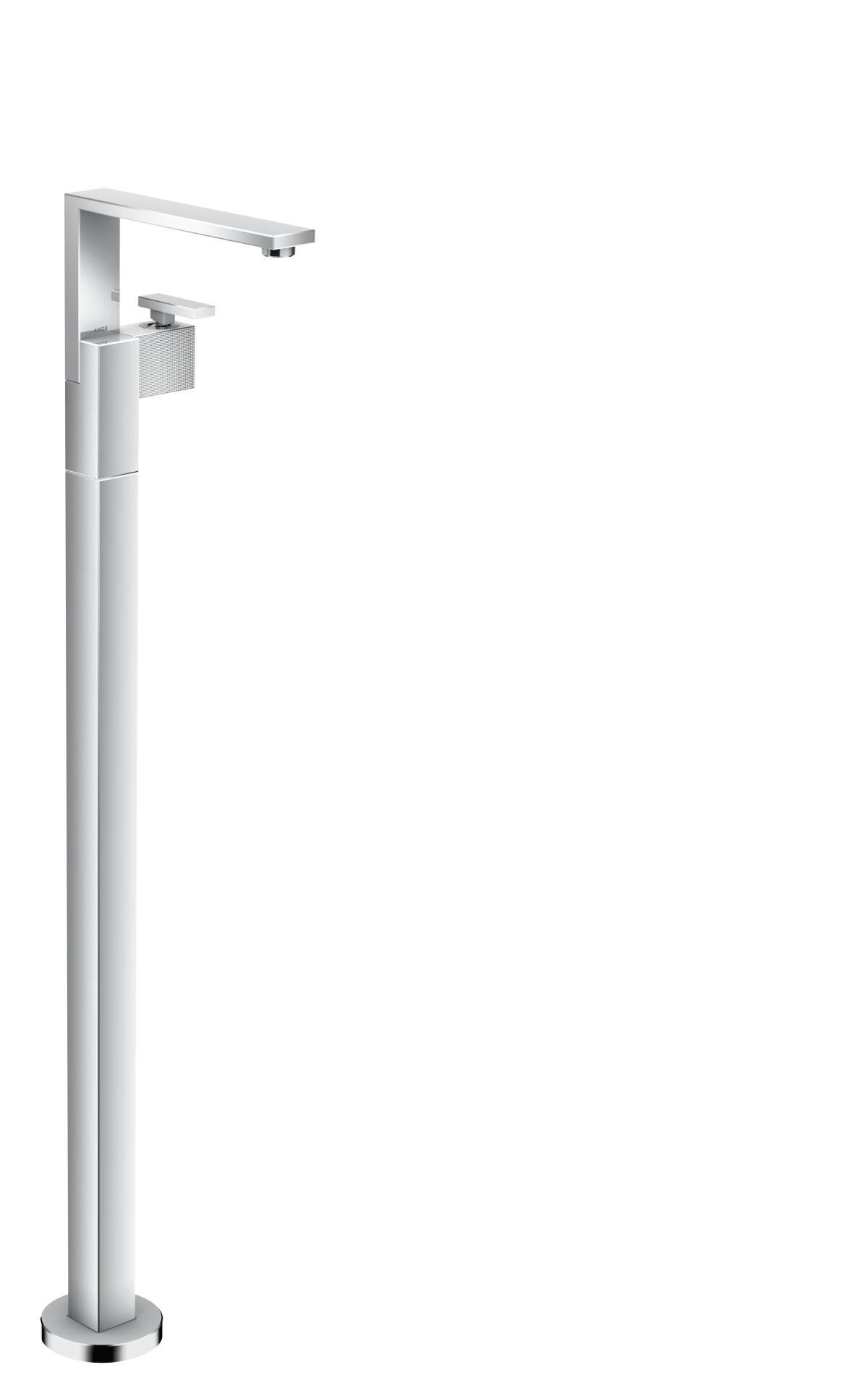 Einhebel-Waschtischmischer bodenstehend mit Push-Open Ablaufgarnitur - Diamantschliff, Chrom, 46041000
