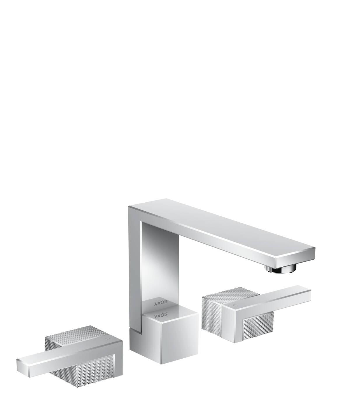 Grifería de lavabo de 3 agujeros 130 con vaciador push-open - corte de diamante, cromo, 46051000