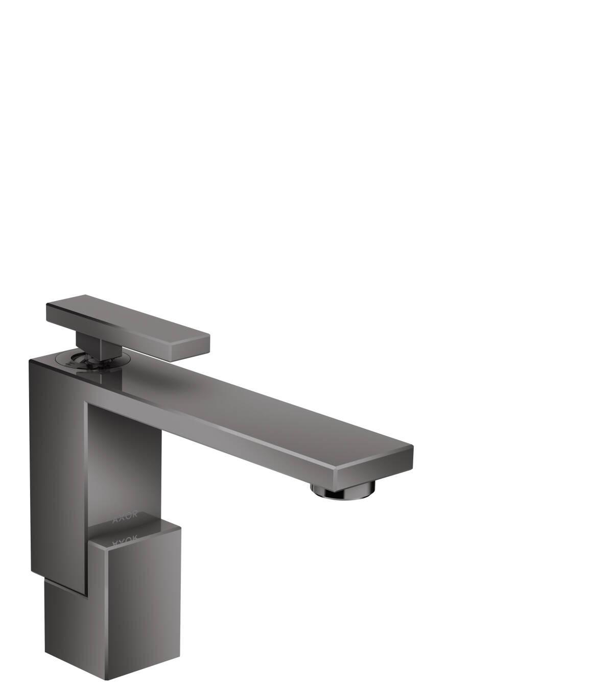 Mezclador monomando de lavabo 130 con vaciador push-open, cromo negro pulido, 46010330