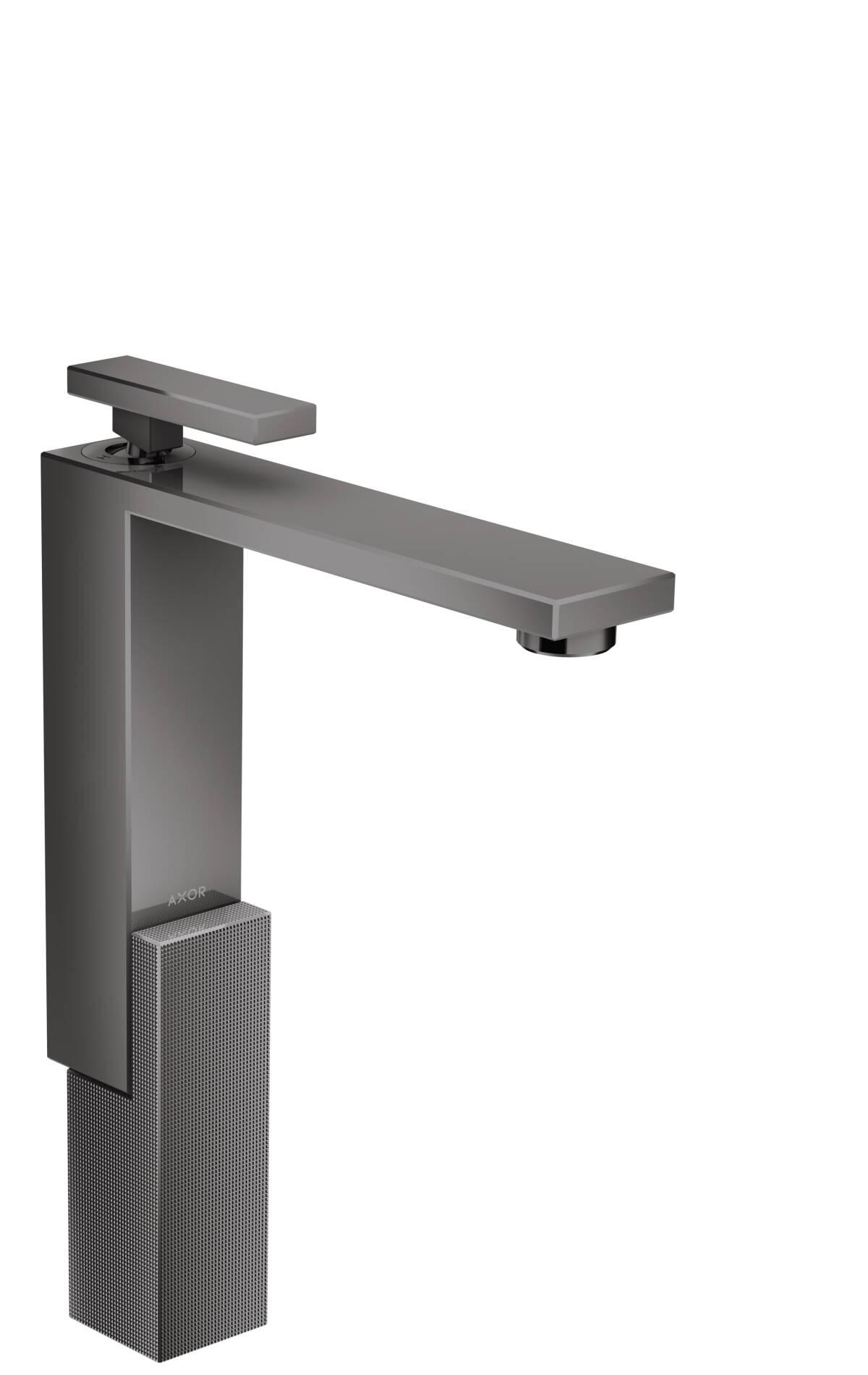 Mezclador monomando de lavabo 280 con vaciador push-open - corte de diamante, cromo negro pulido, 46031330