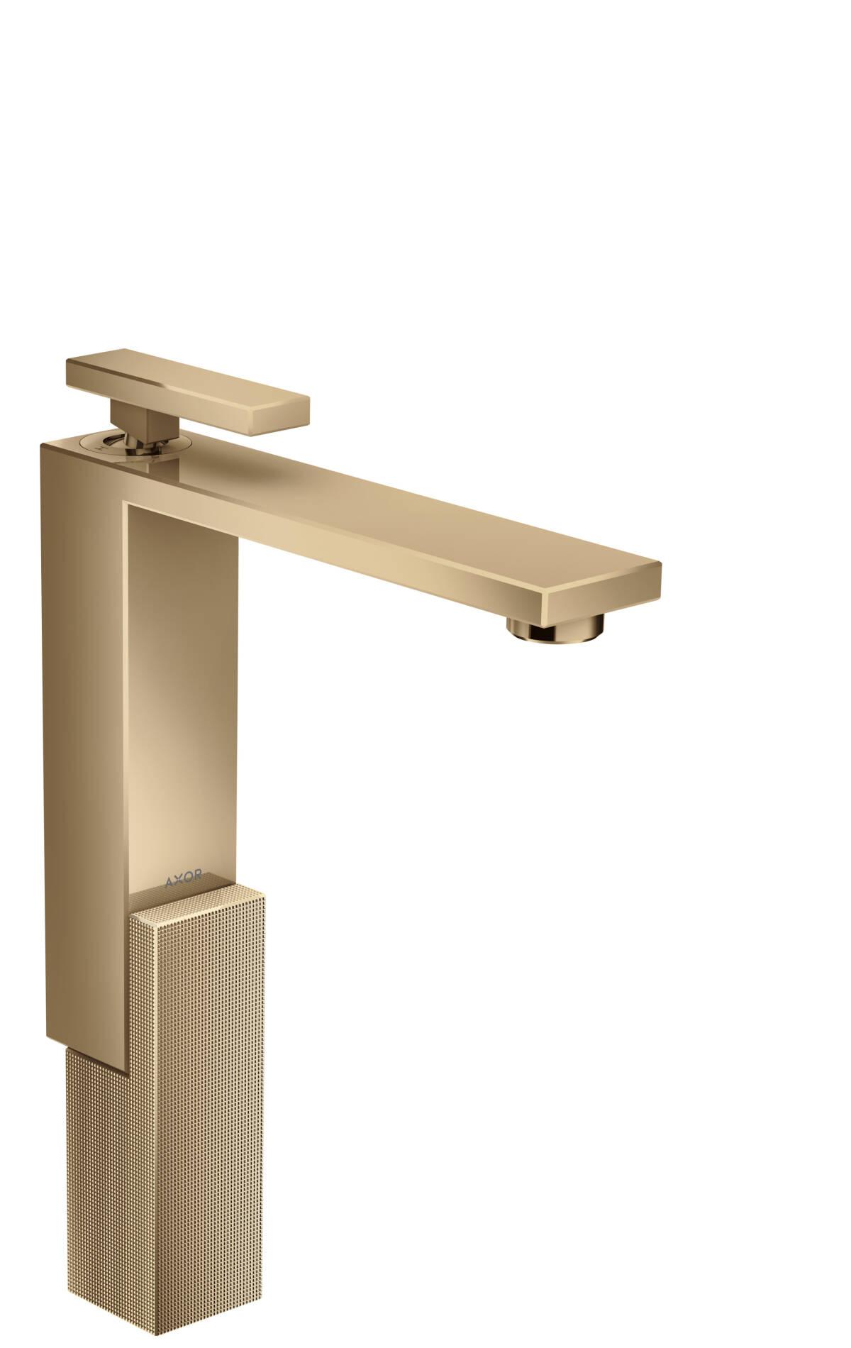 Mezclador monomando de lavabo 280 con vaciador push-open - corte de diamante, bronce pulido, 46031130
