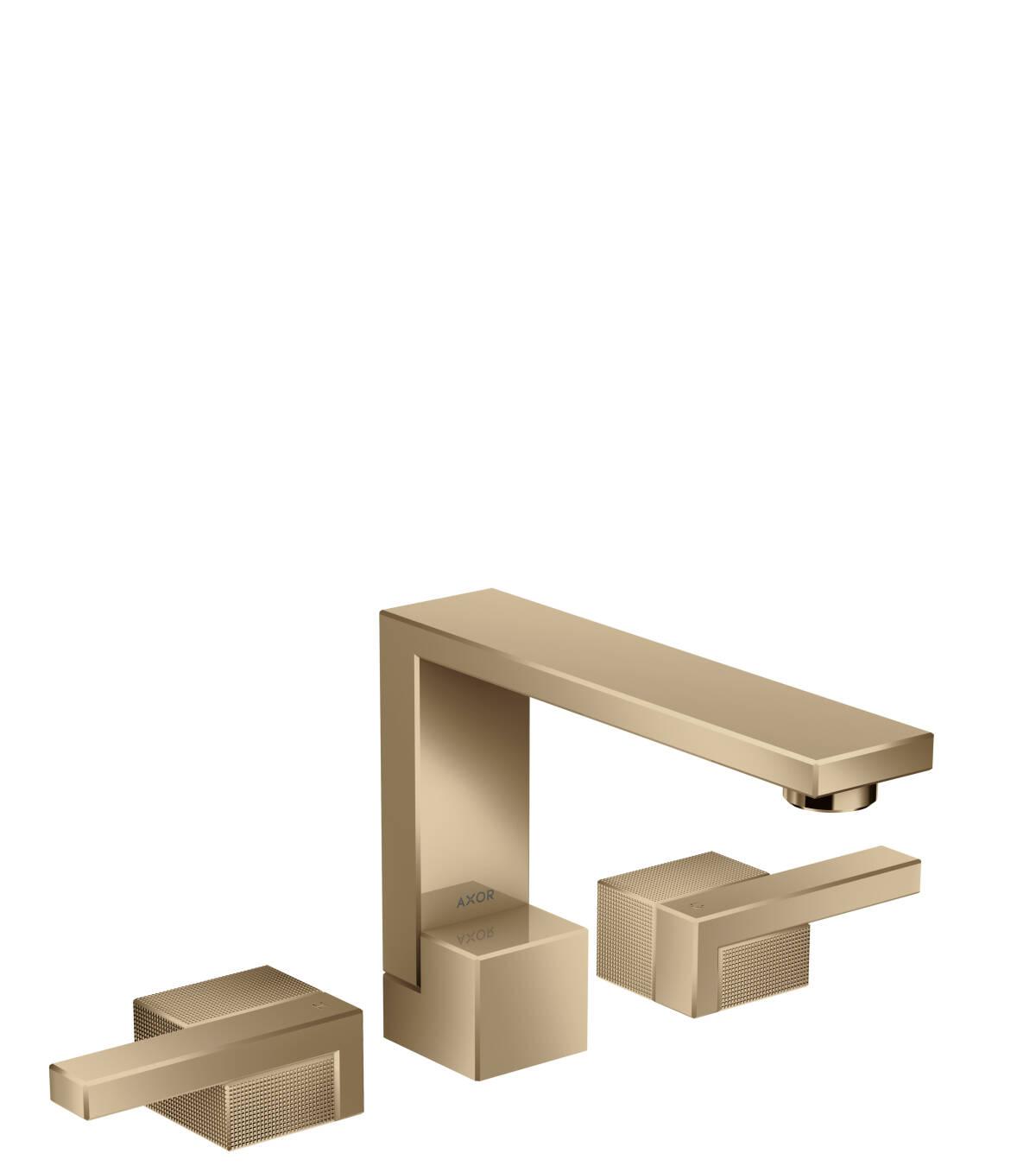 Grifería de lavabo de 3 agujeros 130 con vaciador push-open - corte de diamante, bronce pulido, 46051130