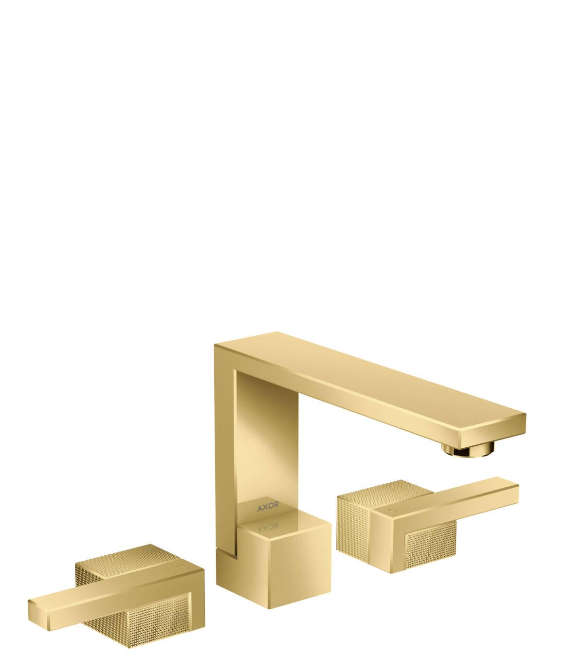 Grifería de lavabo de 3 agujeros 130 con vaciador push-open - corte de diamante, color oro pulido, 46051990