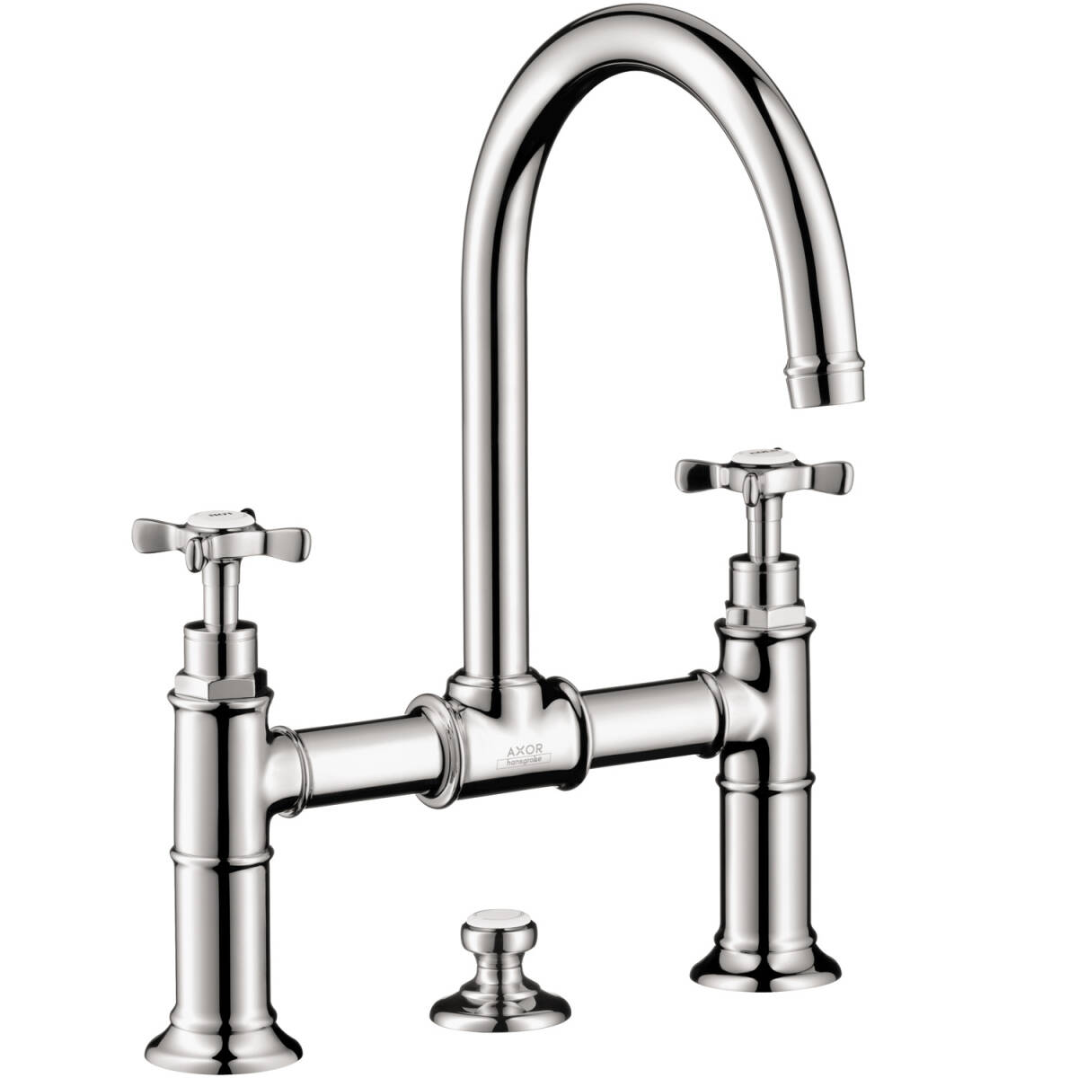 2-handle basin mixer 220 with cross handles and pop-up waste set, Chrome, 16510001