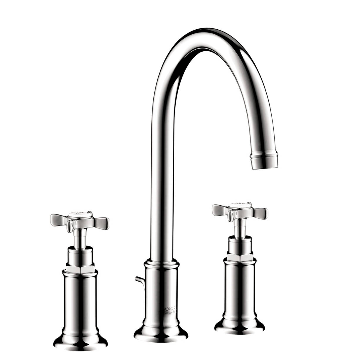 3-hole basin mixer 180 with cross handles and pop-up waste set, Chrome, 16513001