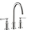 3-hole basin mixer 180 with lever handles and pop-up waste set