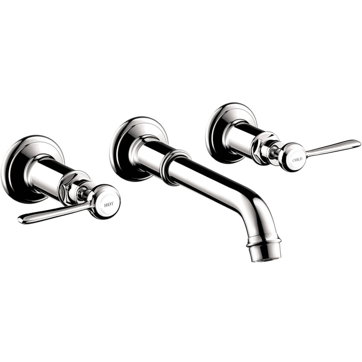 3-hole basin mixer for concealed installation wall-mounted with spout 165 - 225 mm and lever handles, Chrome, 16534001