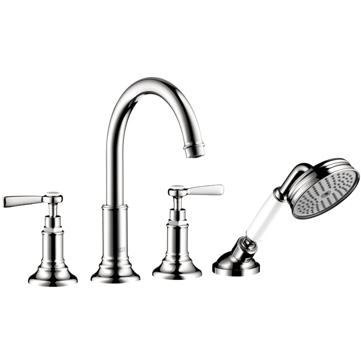 4-hole rim mounted bath mixer with lever handles, Chrome, 16555001