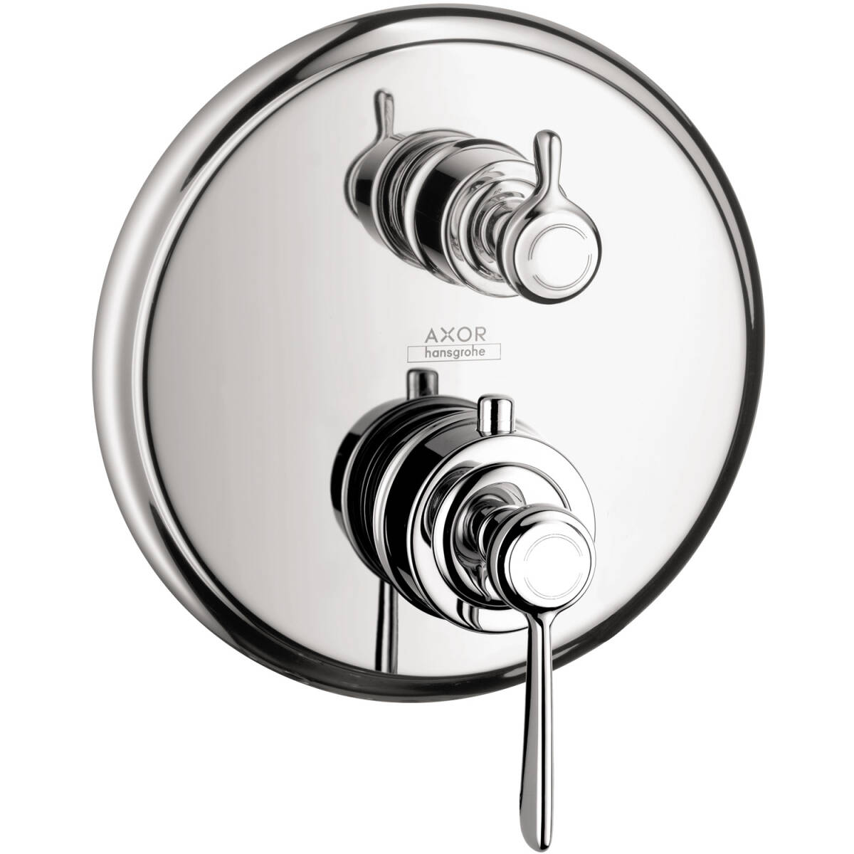Thermostat for concealed installation with lever handle and shut-off valve, Chrome, 16801001