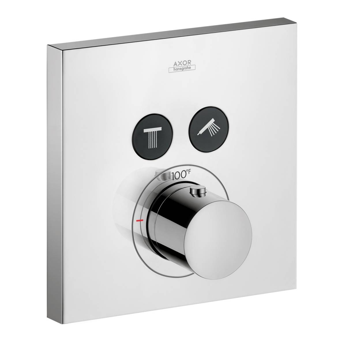 Thermostat for concealed installation square for 2 functions, Chrome, 36715001