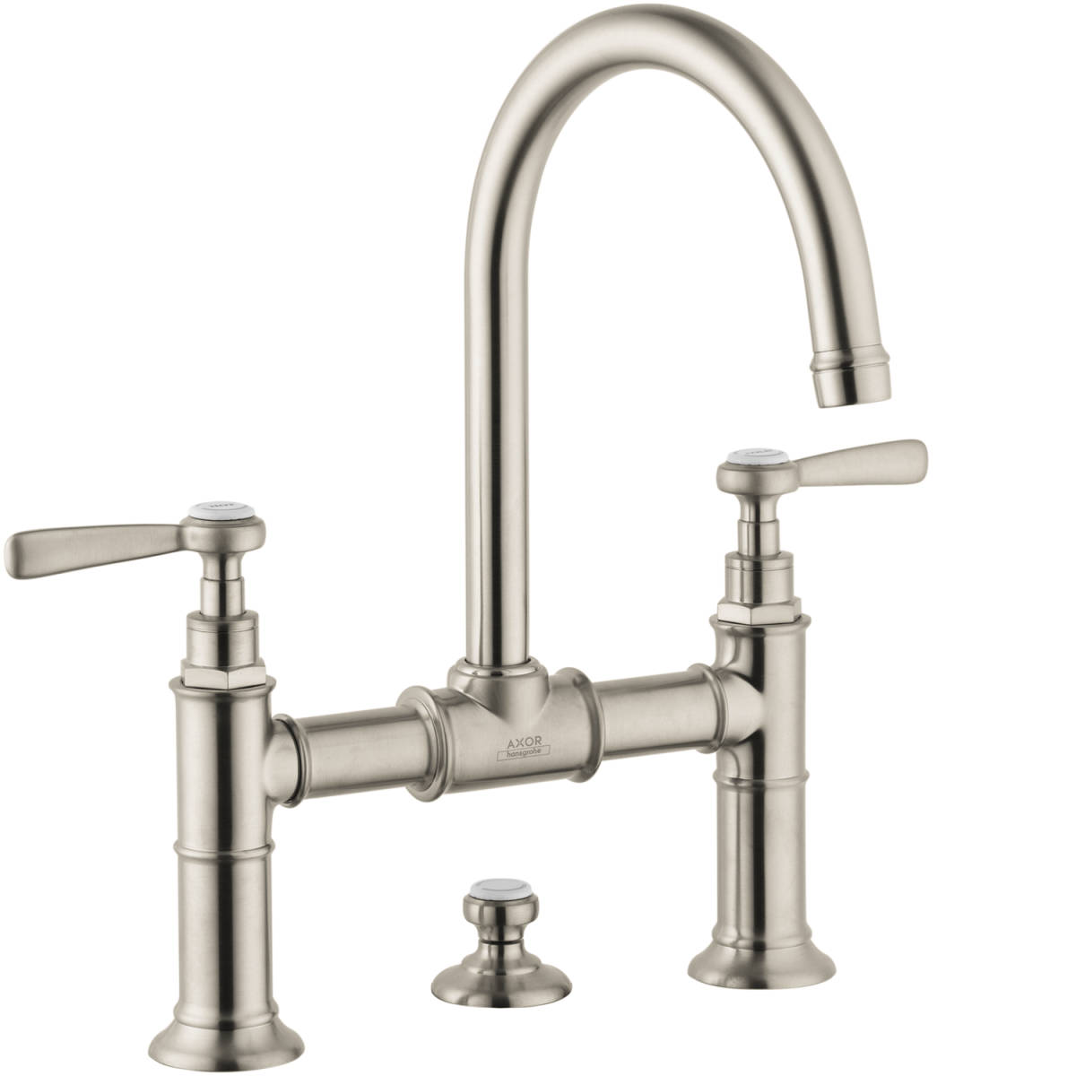 2-handle basin mixer 220 with lever handles and pop-up waste set, Brushed Nickel, 16511821