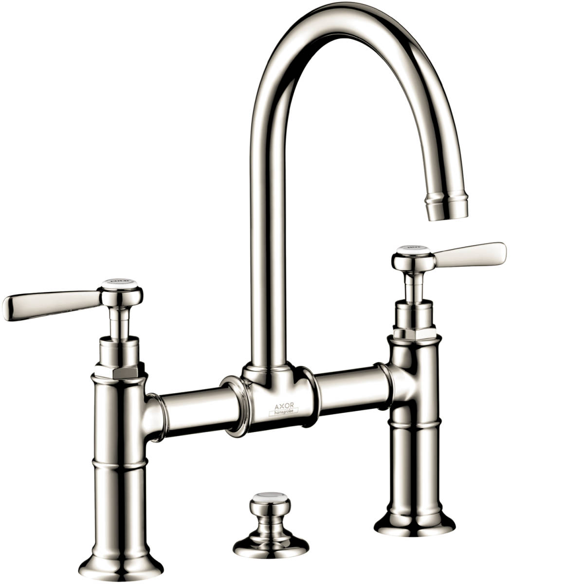2-handle basin mixer 220 with lever handles and pop-up waste set, Polished Nickel, 16511831
