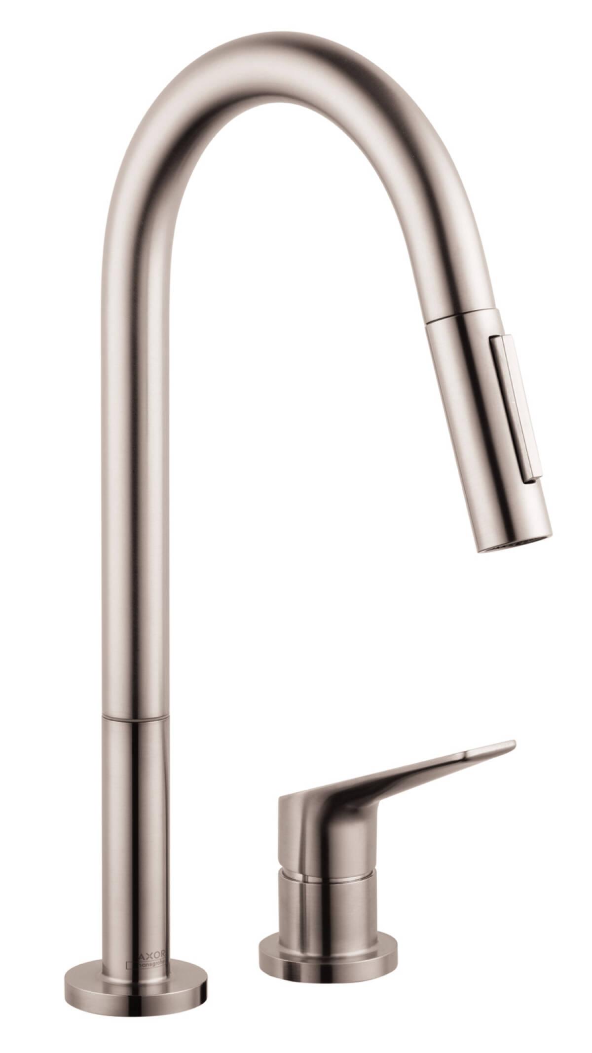Mezclador monomando de cocina de 2 agujeros 220 con ducha extraíble, acabado de acero inoxidable, 34822800