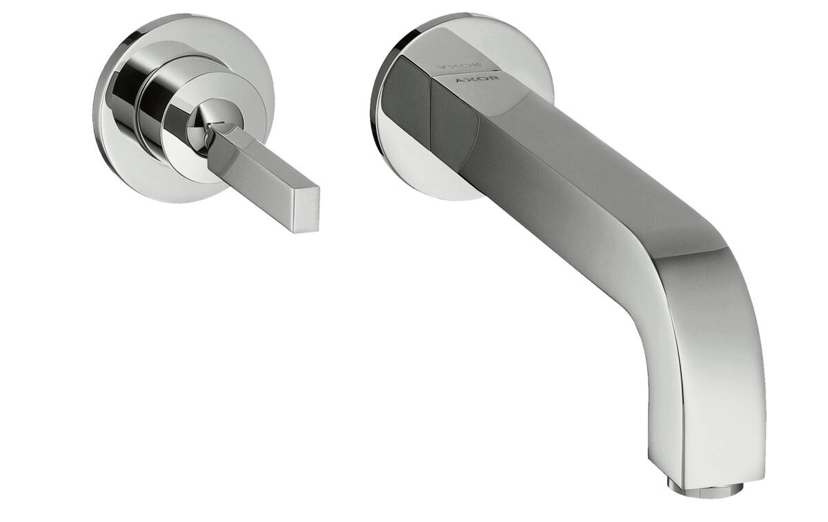 Single lever basin mixer for concealed installation with spout 225 mm and escutcheons wall-mounted, Polished Bronze, 39116130
